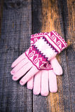 Closeup of knitted winter gloves Stock Photos
