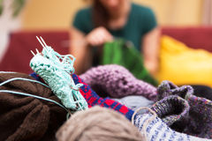 Closeup of knitting gear Royalty Free Stock Photography