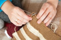 Closeup of knitting woman hands Stock Photo