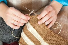 Closeup of knitting woman hands Royalty Free Stock Photography