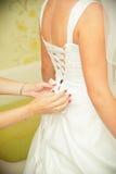 Closeup of lace corset wedding dress. Royalty Free Stock Photo