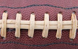 Football Laces. Closeup of the laces on a football Stock Photo