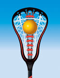 Closeup of Lacrosse Stick Pocket and Ball Royalty Free Stock Images