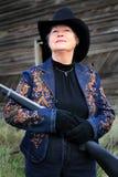 Closeup Lady Gunman Stock Images