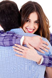 Closeup of lady hugging man Stock Photos