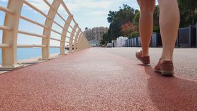 Closeup of lady legs walking along unpolluted pavement, concept of clean city. Stock footage stock footage