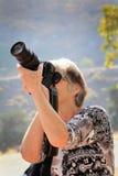 Closeup Lady Photographer Stock Photo