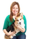 Closeup of Lady and Welsh Corgi Dog Royalty Free Stock Images