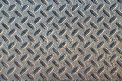 Dusty grungy Industrial Checker Plate Background Texture with Ru royalty free stock image