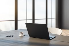 Closeup of laptop on desk. Close up and side view of laptop and coffee cup on wooden desk in office interior with panoramic city view and daylight. Toned image vector illustration