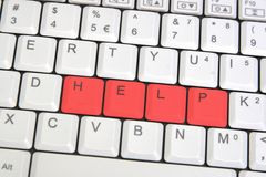Closeup of laptop keyboard. With sign HELP Stock Photo