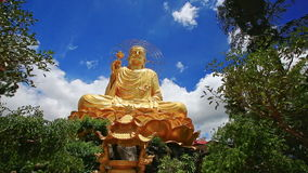 Closeup Large Gold Buddha Statue against Blue Sky in Vietnam stock video
