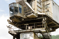 Closeup of large industrial crane with empty cabin Stock Photography