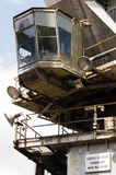 Closeup of large industrial crane with empty cabin Stock Photo