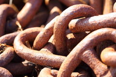 Closeup of large rusty chain links Royalty Free Stock Photography