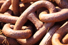 Closeup of large rusty chain links Stock Image