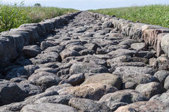 Closeup on large stones of Ainazi North Pier Stock Photography