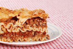 Closeup lasagna Stock Photo