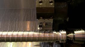 Closeup of lathe in action. Detail made of steel. New cnc machine stock video footage