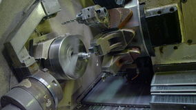 Closeup Lathe Starts to Turn Detail at Shop stock video footage