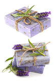 Closeup of lavender soap bars with fresh flowers Royalty Free Stock Photography