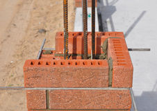 Closeup. Lay bricks and blocks correctly. Whether you are laying brick to build a mailbox enclosure, or building a brick house, the process is the same Royalty Free Stock Photography