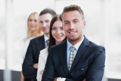 Closeup. leader standing in front of the business team Royalty Free Stock Images