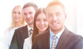 Free Closeup. Leader Standing In Front Of The Business Team Stock Images - 111882764