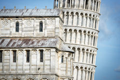 Closeup Leaning Tower Royalty Free Stock Images