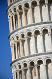 The closeup  of the Leaning Tower on Square of Miracles in Pisa, Italy Royalty Free Stock Photo