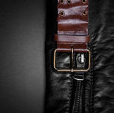 Closeup of a leather with a belt Stock Photo