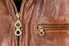 Leather jacket with zipper and pocket Royalty Free Stock Image