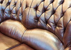 The Closeup of leather sofa. Royalty Free Stock Images