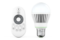 Closeup LED bulb with remote controller Stock Image