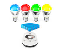 Closeup LED bulbs with Remote Controller and WiFi Sign Stock Image