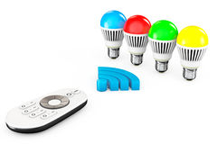 Closeup LED bulbs with Remote Controller and WiFi Sign Royalty Free Stock Image