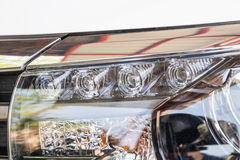 Closeup LED headlights daylight running Stock Image