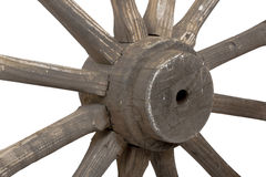 Closeup left view of vintage wooden wagon wheel Stock Image