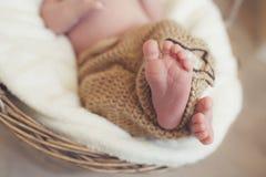 Closeup of legs of a newborn,sleeping in a wicker basket Stock Photo