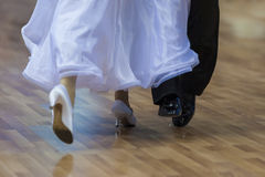 Closeup of Legs of the Professional Dance Couple Performing Euro Stock Images