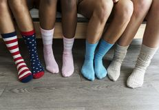Closeup of legs with socks royalty free stock image