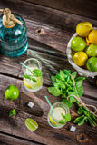 Closeup of lemon drink with ice in glass Royalty Free Stock Image
