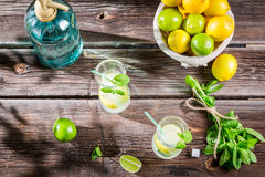 Closeup of lemon drink with ice in glass Royalty Free Stock Photo