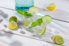 Closeup of lemon drink with ice and mint leaf Stock Images