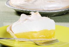 Closeup lemon meringue pie Stock Photography