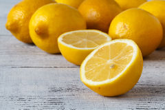 Closeup of Lemons Freshly Picked Off Tree, Making for a Sweeter. Lemon royalty free stock photos