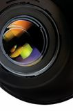 Closeup of lens and hood Royalty Free Stock Images