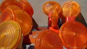 Closeup of Lenses on Traffic Barricades Royalty Free Stock Photo