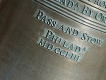Closeup of Lettering on the Liberty Bell-Horizontal royalty free stock photo