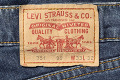 Closeup of Levi's leather jeans label Stock Images